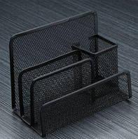 Підставка органайзер для листів, документів 170х80х135мм метал.чорна 4 відділення № 9-527