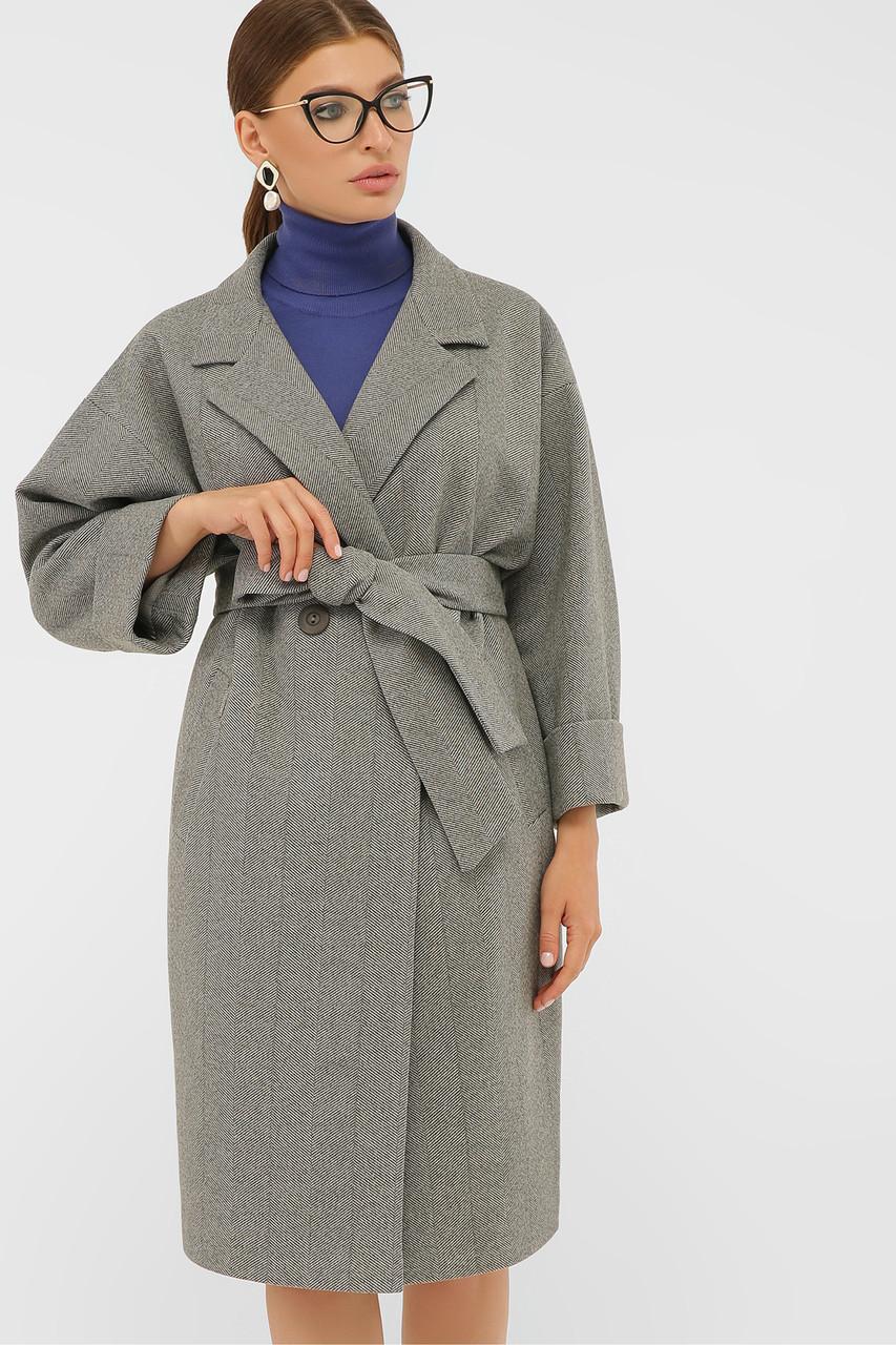 Пальто женское до колена ровное серого цвета шерстяное пальто 38, 40, 42