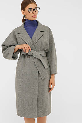 Пальто женское до колена ровное серого цвета шерстяное пальто 38, 40, 42, фото 2