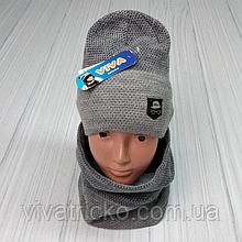 М 94023 Комплект для хлопчика шапка подвійна на флісі і снуд, різні кольори, 3-8 років