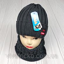 """М 94032 Комплект для хлопчика шапка """"M"""" на флісі і снуд, різні кольори"""