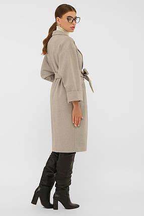 Пальто стильное до колена ровное бежевого цвета шерстяное пальто 38, 40, 42, фото 2