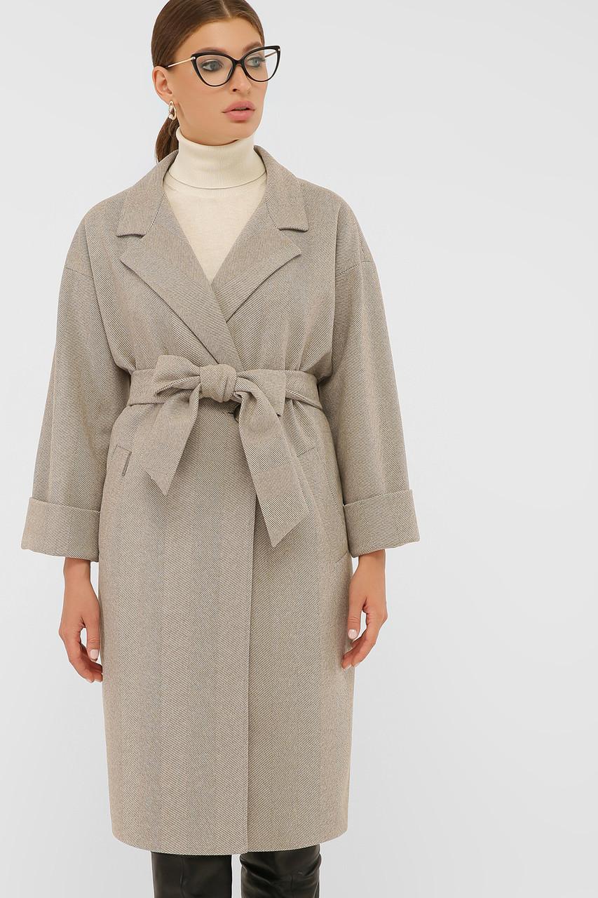 Пальто стильное до колена ровное бежевого цвета шерстяное пальто 38, 40, 42