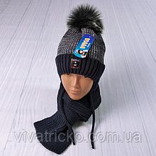 М 94002 Комплект для хлопчика шапка з шнурками на флісі і шарф, різні кольори