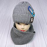 """М 94040 Комплект для хлопчика шапка """"56"""" на флісі і хомут, різні кольори, фото 4"""