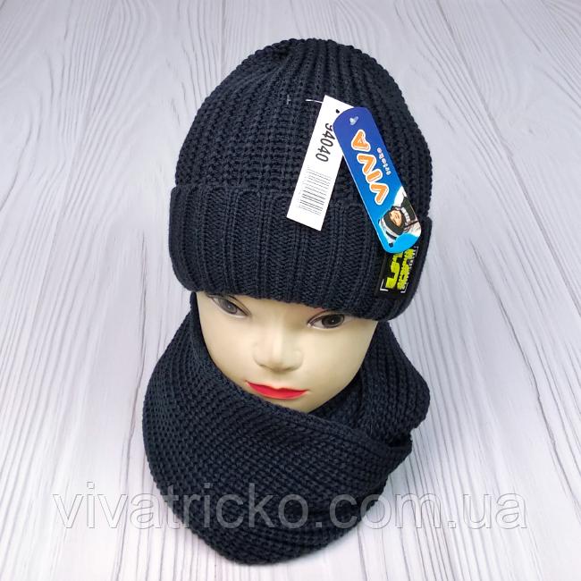 """М 94040 Комплект для хлопчика шапка """"56"""" на флісі і хомут, різні кольори"""