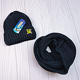 """М 94040 Комплект для хлопчика шапка """"56"""" на флісі і хомут, різні кольори, фото 6"""