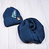 """М 94040 Комплект для хлопчика шапка """"56"""" на флісі і хомут, різні кольори, фото 7"""