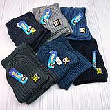"""М 94040 Комплект для хлопчика шапка """"56"""" на флісі і хомут, різні кольори, фото 8"""