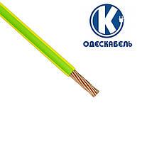 Медный гибкий провод ПВ3 10 мм2 ОдесКабель зелено-желтый установочный монтажный силовой шнур одножильный