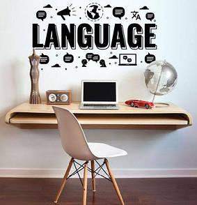 Наклейка на стіну Language (наклейка для декору кабінета англійської мови, дизайн школи нуш, купити)