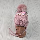 М 94038 Шапка в'язана для дівчинки з вушками , різні кольори, фото 2