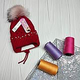 М 94038 Шапка в'язана для дівчинки з вушками , різні кольори, фото 4