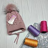 М 94038 Шапка в'язана для дівчинки з вушками , різні кольори, фото 5
