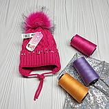 М 94038 Шапка в'язана для дівчинки з вушками , різні кольори, фото 6