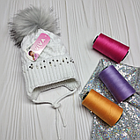 М 94038 Шапка в'язана для дівчинки з вушками , різні кольори, фото 8