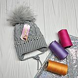 М 94038 Шапка в'язана для дівчинки з вушками , різні кольори, фото 9