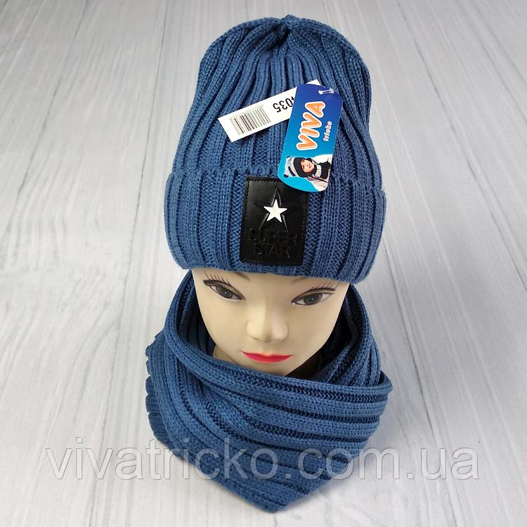 М 94035 Комплект для мальчика  шапка лопата на флисе и хомут, разние цвета