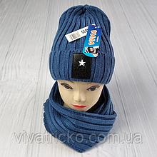 М 94035 Комплект для хлопчика шапка лопата на флісі і хомут, різні кольори