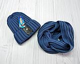 М 94035 Комплект для мальчика  шапка лопата на флисе и хомут, разние цвета, фото 2