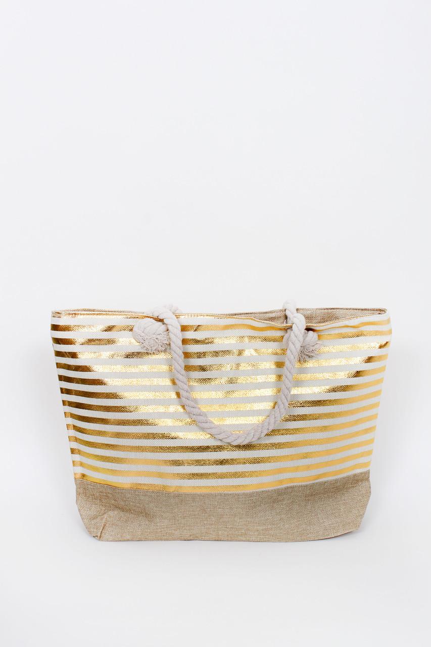 Пляжна Сумка Серен смугаста пісочний колір з золотими смужками