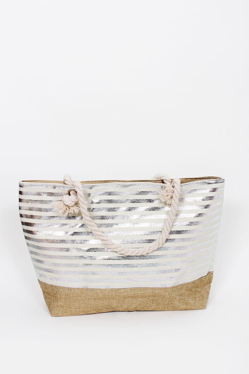 Сумка пляжная Серен полосатая песочный цвет с серебряными полосками