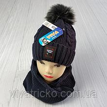 М 94026 Комплект для хлопчика шапка на флісі і хомут, різні кольори