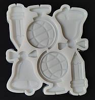 Молд силиконовый для леденцов и изомальта Школьный набор на 6 ячеек 6,5 см