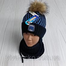 М 94006 Комплект для хлопчика шапка з помпоном і манишка , різні кольори