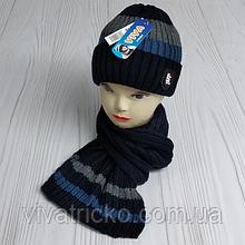 М 94018 Комплект для хлопчика шапка на флісі і шарф, різні кольори