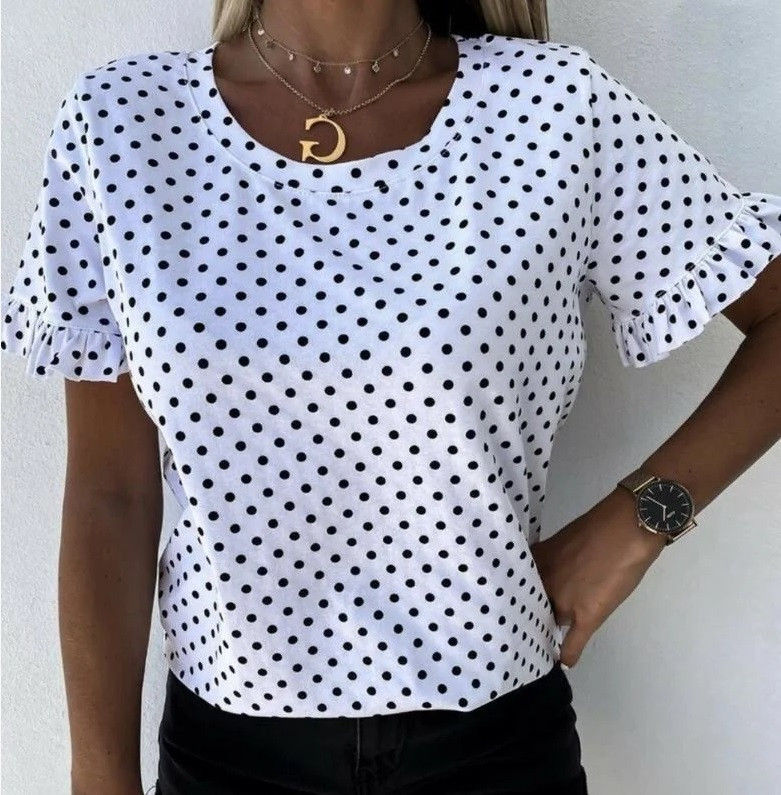 Блуза в горошек с коротким рукавом Ненси