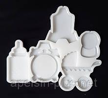 Молд силиконовый для леденцов и изомальта Детский набор на 6 ячеек 6,5 см