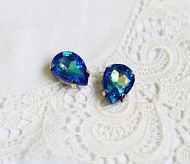 Стразы стеклянные Капля 10х14 мм, в пришивной оправе, сине-зеленый