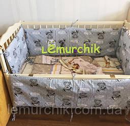 """Защита для детской кроватки 120х60 см, """"It's a boy"""" серая"""