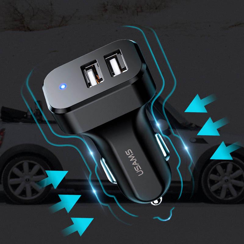АЗУ Usams C13 2.1A Dual USB + U35 Type-C cable Черный USAMS to Автомобильные ЗУ