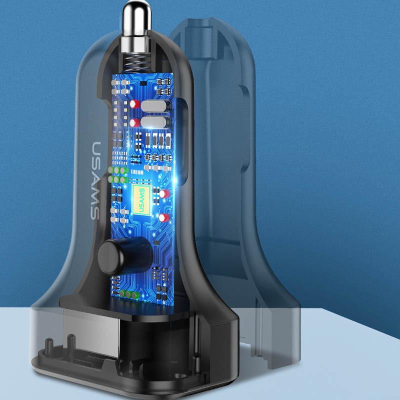 АЗУ Usams C13 2.1A Dual USB + U35 Type-C cable Черный USAMS to Автомобильные ЗУ Съемный кабель в комплекте