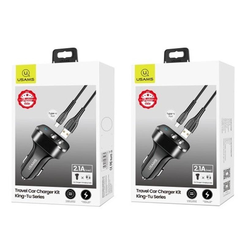 АЗУ Usams C13 2.1A Dual USB + U35 Type-C cable Черный USAMS to Автомобильные ЗУ Съемный кабель в комплекте Пластик