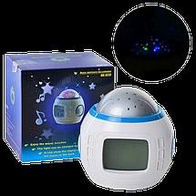 Часы с будильником и проектором звездного неба UKC 1038, Проектор звездного неба музыкальный с часами 6 цветов, фото 2