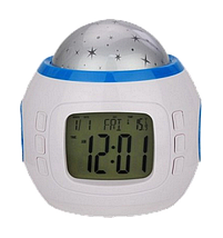 Часы с будильником и проектором звездного неба UKC 1038, Проектор звездного неба музыкальный с часами 6 цветов, фото 3