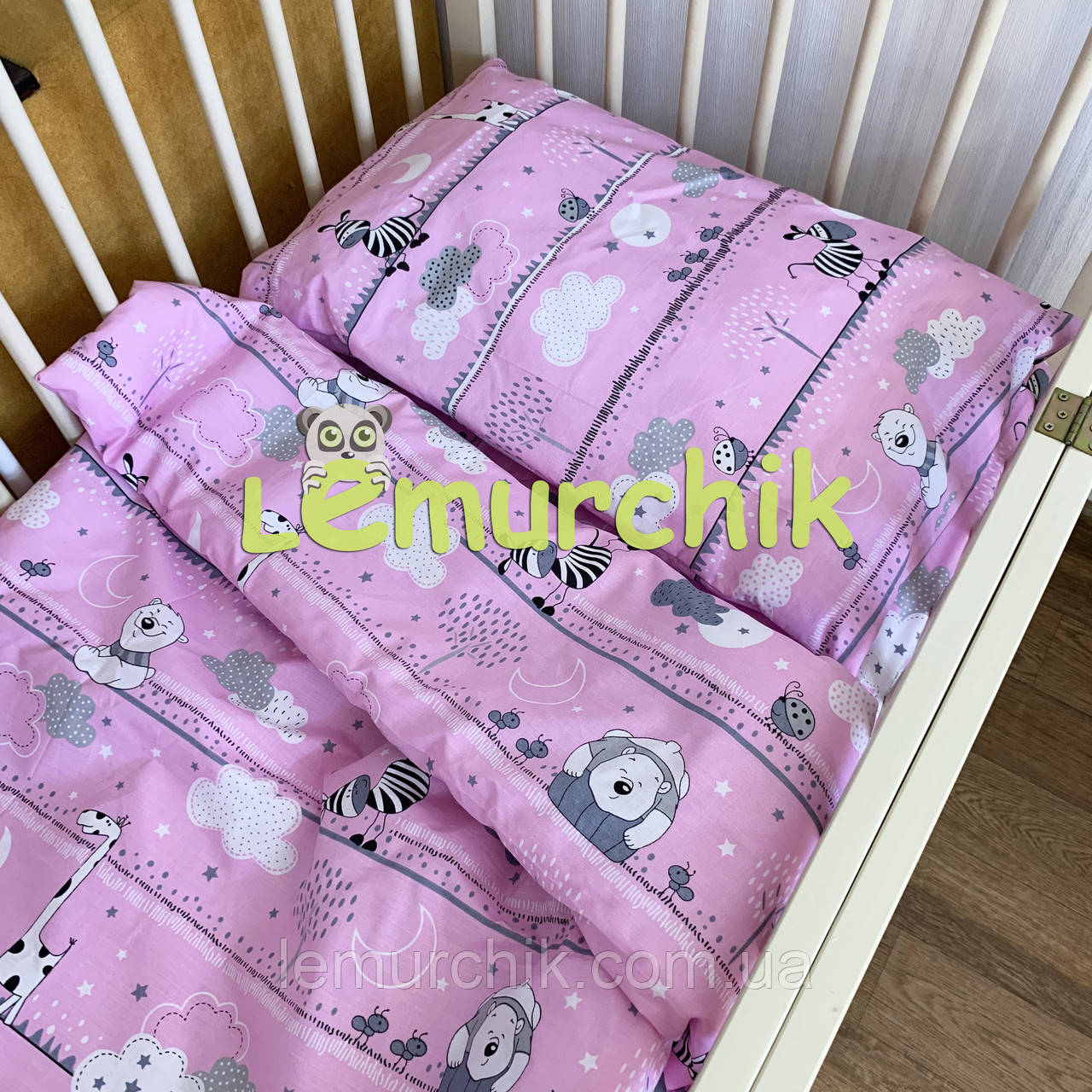 Постельный набор в детскую кроватку (3 предмета) Зеброчки розовые