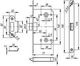 Механізм міжкімнатний під фіксатор LH 96-50 Р Armadillo бронза, фото 2