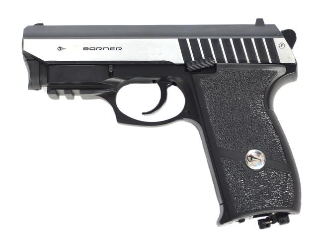 Зовнішній вигляд і пристрій пневматичного пістолета Borner Panther 801 з ЛЦУ