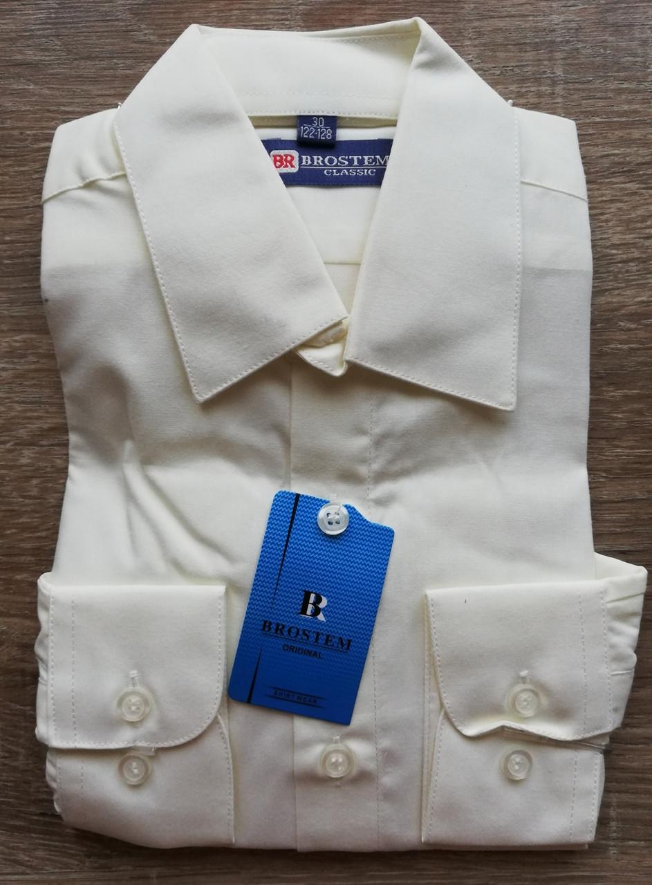 Детская рубашка с длинным рукавом Молочная размеры 158-164 см