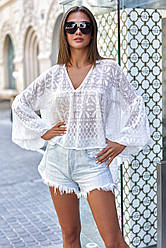Блузка белая женская шифоновая свободная