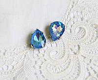 Стразы стеклянные Капля 10х14 мм, в пришивной оправе, голубые