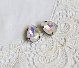 Стразы стеклянные Капля 10х14 мм, в пришивной оправе, белые