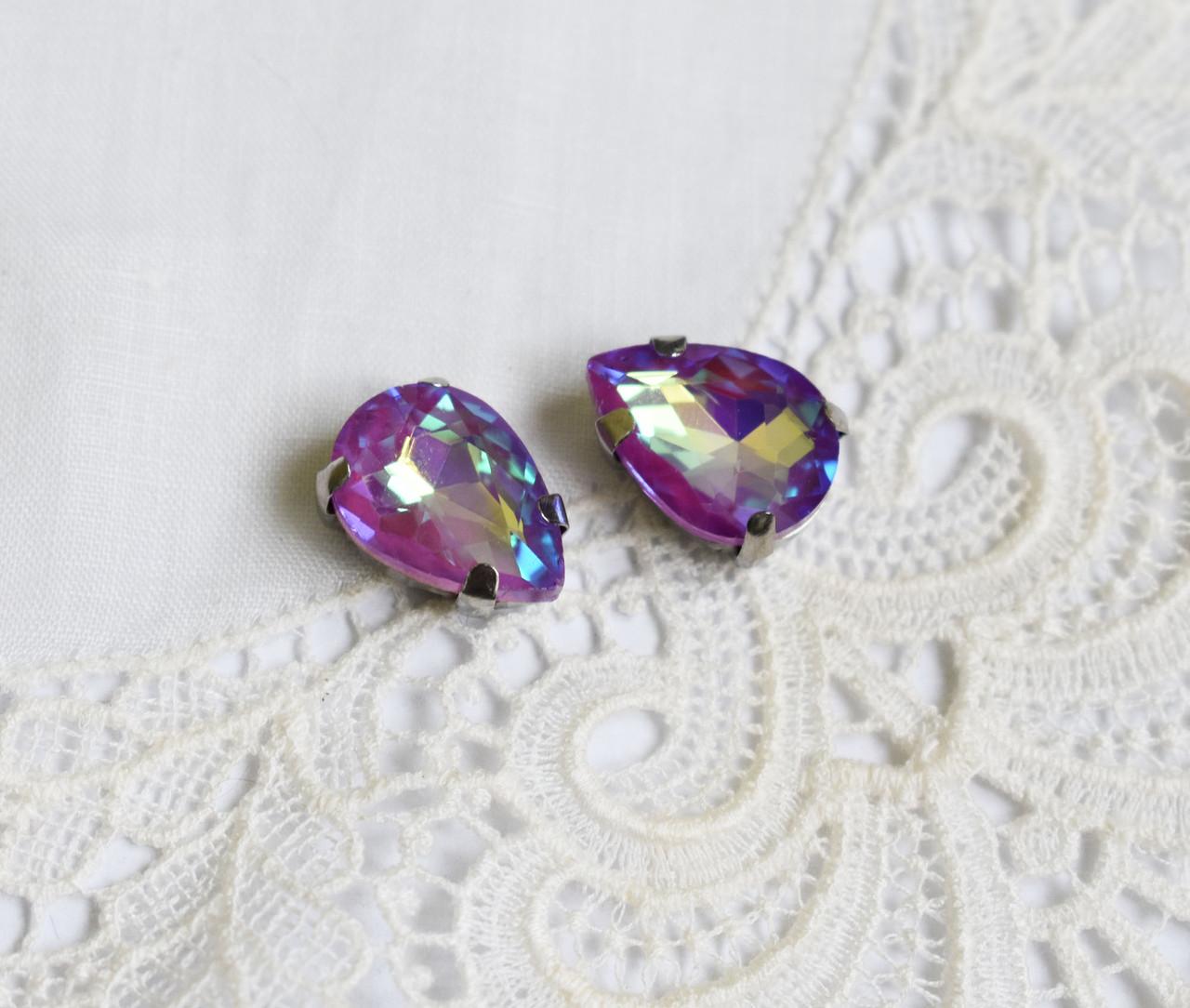Стрази скляні Крапля 10х14 мм, в пришивной оправі, фіолетові