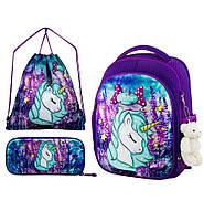 Рюкзак школьный ортопедический для девочки 1-4 класса в комплекте пенал+сумка для обуви Winner One 6015
