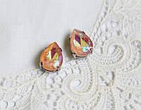 Стрази скляні Крапля 10х14 мм, в пришивной оправі, персикові