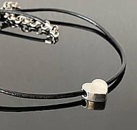 Чокер кулон сердце серебро 925